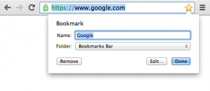 Ghim link vào bookmark